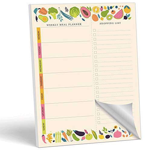 """MUDRIT Magnetic Weekly Meal Planner Notepad with Tear Off Grocery Shopping List for Fridge   What to Eat Pad - 52 Sheets, 7"""" x 10"""""""