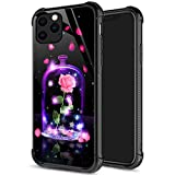 iPhone 11 Pro Max Case,9H Tempered Glass iPhone 11 Pro Max Cases Flower in Bottle for Girls Womens, Pattern Design Shockproof Anti-Scratch Case for Apple iPhone 11 Pro Max 6.5-inch Beauty or Beast