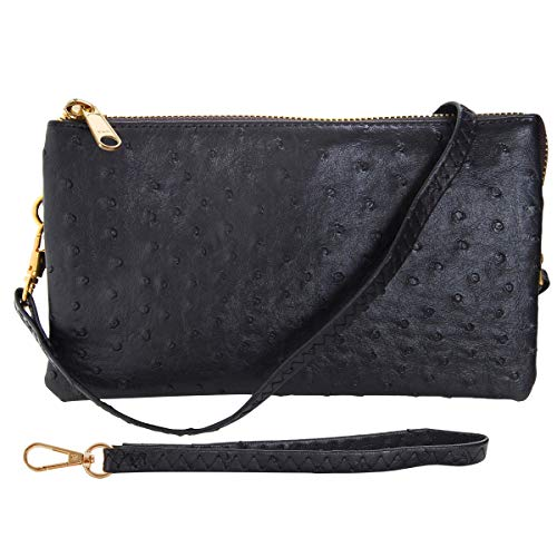 Humble Chic Vegan Leather Faux Ostrich Wristlet - Textured Dot Convertible Wallet Crossbody Bag Clutch Purse with Shoulder Strap, Black Ostrich