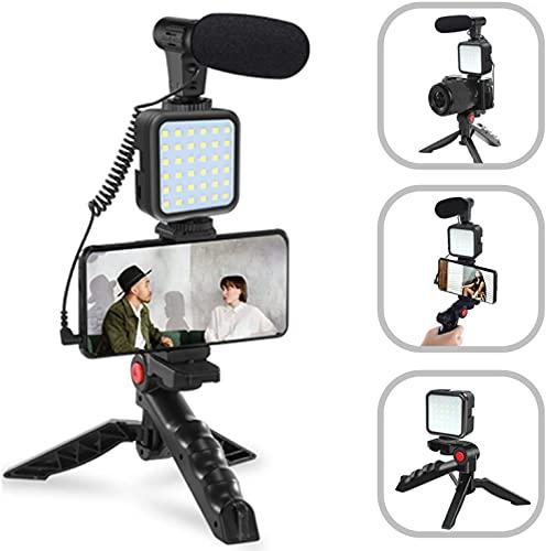 Tuo3eu Smartphone Video Kit, Kit de Vlogger de Vídeo Micrófono con luz LED, Soporte para teléfono, trípode Compatible con iPhone, Samsung, Huawei, Android, para Youtube, TikTok, Filmación, Vlogging