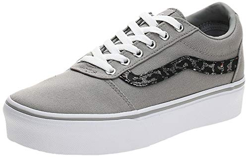 Vans Ward Platform Canvas Zapatillas Mujer, Gris (Metallic Leopard) Drizzle Vw2), 34.5 EU (2.5 UK)