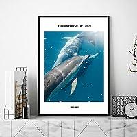 イルカ海ポスター北欧海風景壁アートパネル沿岸風景キャンバス絵画インテリア青スカンジナビア写真モダン版画リビングルーム家装飾の画D2 /40x55cmフレームなし
