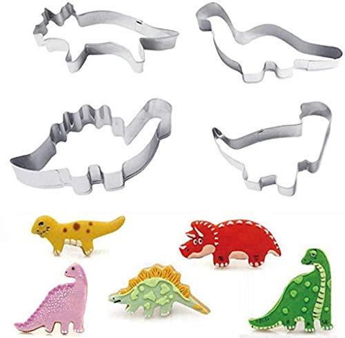 NARFIRE 4Pcs Baking Mold Stainless Steel Dinosaur Shape Cooking Tools Cute Cookies Cake Mold Cake Tools