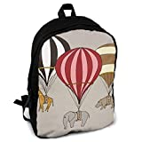 Homebe Sac à Dos,Cartable,Sac d'école Elephant Giraffe Hippo Hot Air Balloon Archival Art Print Fashion Printing Adult Backpack Travel Hiking Knapsack