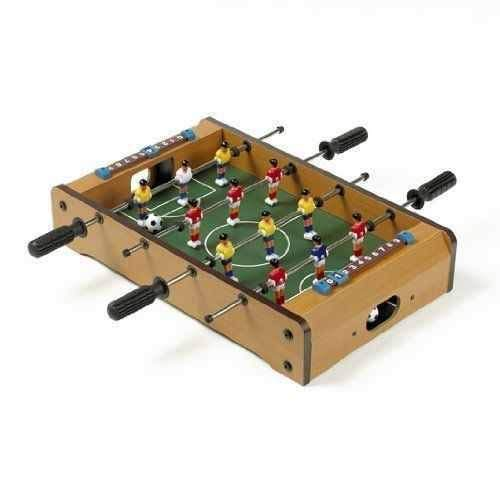 Affordable Family Games 20 Foosball Table, Easily Assemble Wooden Mini Foosball Table Top w/Footbal...