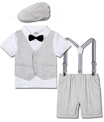 mintgreen Traje Niño Conjunto Gentleman Bebé Camisa Boda con Boina, Gris Calro, 1-2 años (Tamaño del Fabricante: 90)