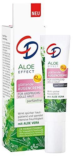 CD Aloe Effect glättende Augencreme, intensive Feuchtigkeitscreme für die Augen, mit Q10 & Aloe vera, gegen Augenringe, für empfindliche Haut geeignet, vegan, 15 ml