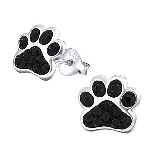 Orecchini in argento sterling 925 a forma di zampa di cane con pietre di cristallo nere