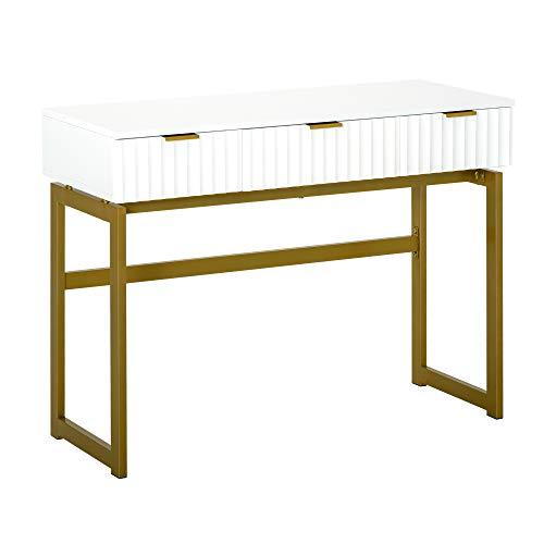 HOMCOM Console Table d'appoint Style Art déco dim. 100L x 40l x 76H cm 3 tiroirs façades texturées métal doré MDF Blanc