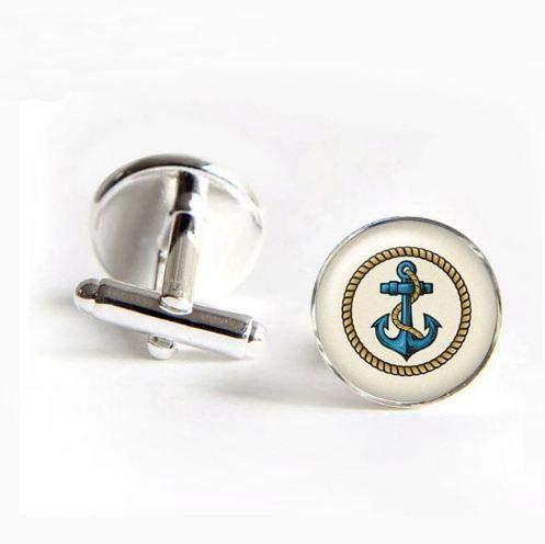 Style2 Manschettenknöpfe Seemannsanker Glas Anker Manschettenknopf Hemd Manschettenknöpfe für Herren Casual Cufflinks New Fashion