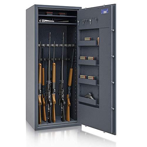 SafeHero Waffenschrank Klasse 1 EN 1143-1 Secureo Hawk 20 XL | Schlüsselschloss | für 16 Langwaffen und Kurzwaffen inkl. Munition | 1600x655x500 (HxBxT mm) | 237 kg