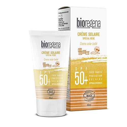 Bioregena - Crema Solar Bio, Factor de Protección 50+, para Piel Sensible de Bebés de Más de 6 Meses, Crema, 40 Mililitros