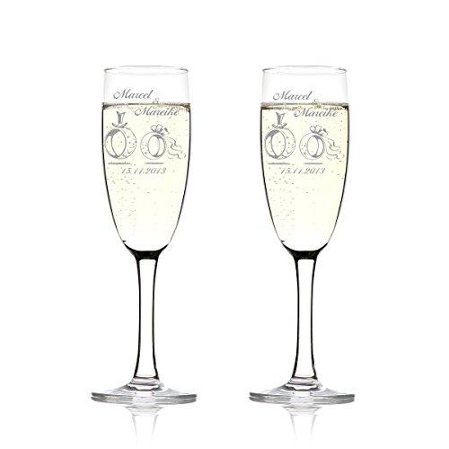 polar-effekt Juego de 2 copas de champán personalizadas con grabado, regalo de...