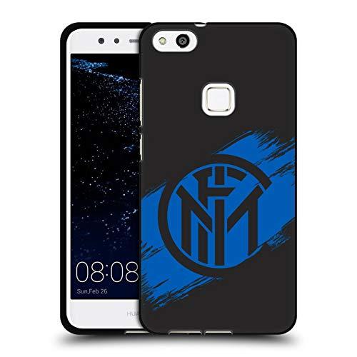 Head Case Designs Ufficiale Inter Milan Tratti di Pennello Grafici Cover Nera in Morbido Gel Compatibile con Huawei P10 Lite
