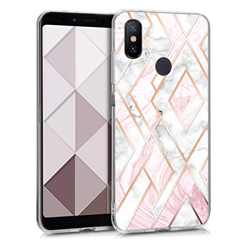 kwmobile Funda Compatible con Xiaomi Mi 6X / Mi A2 - Carcasa de TPU y mármol y Oro en Oro Rosa/Blanco/Rosa Palo