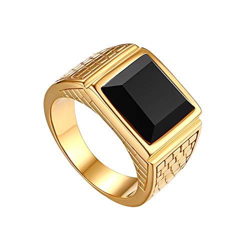 JewelryWe Schmuck Herren-Ring Edelstahl Glas Quadrat Siegelring Bandring Hochzeit Engagement Verlobung Ringe mit Gravur Gold Schwarz, Größe 65