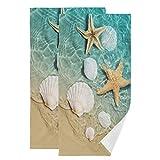 Hand Towels,2 Pack Starfish Seashell On Beach Soft Luxury Towel for Bathroom Kitchen, Beach