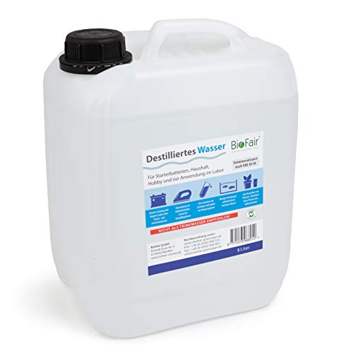 BioFair® - Agua destilada/desmineralizada – 25 L/1 bidón – Sin gastos de envío