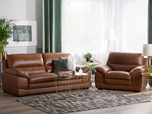 Beliani Ledersessel Ledersofa Goldbraun modernes Wohnzimmer-Set Horten