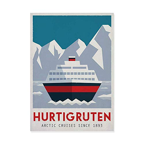 Travel Poster, Norwegen, Hurtigruten, Fähre, Berge, Reise, Skandinavien, Skandinavisches Dekor