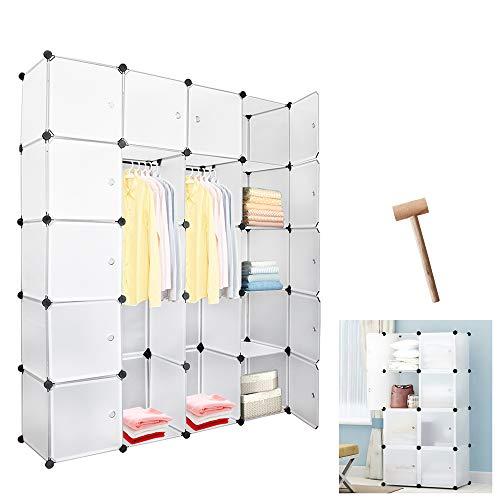 wolketon 20 WürfelWeiß Regalsystem Kleiderschrank Kunststoff DIY Garderobenschrank mit Türen Garderobe für Kinderzimmer Schlafzimmer einfach zu montieren