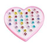 TENDYCOCO 48 stücke Ringe Kunststoff Spielzeug Rins Spielhaus Edelstein Diamant Ring für Kinder Kinder (1 * 36 Boxen Mashups + 1 * 12 Boxen Mashups)