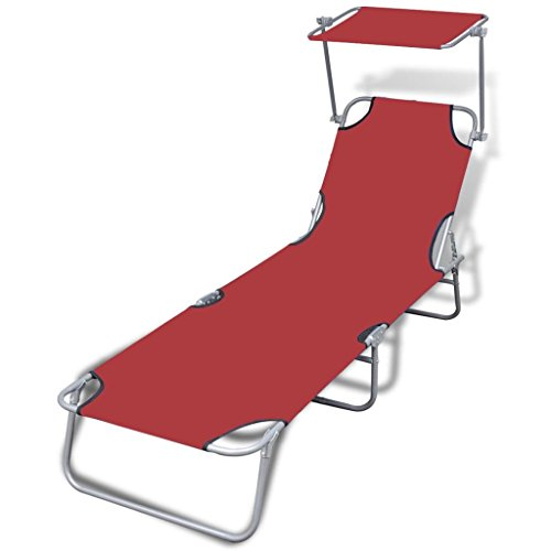 vidaXL Folding Sun Lounger with Canopy Steel and Fabric Red Outdoor Daybed