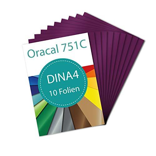 PrintAttack P083 Plotter Folien 10 x DINA4 Oracal 751 C High Performance Perfekt zum Plotten | Bastelfolie | Vinyl Folie | Klebefolien | Selbstklebend je 21 cm x 29,7 cm (20,47 €/m²) (Summer Plum)