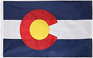 State 4x6 Feet Flag - Embroidered Oxford 210D Heavy Duty Nylon – Sewn Panels, Durable and Long Lasting - 4 Stitch Hemming. Vivid Colors & Fade Resistant. (Colorado 4x6)
