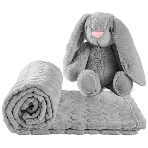AKK BABY Kuscheldecke mit Spielzeuggeschenk Hase für Babys | Weiche Babydecke für Babys | Maße: 100 x 75 cm| Fleece Baby Decke Unisex | Sofadecke | Schlafdecke kuschelig | Grau weich Decken