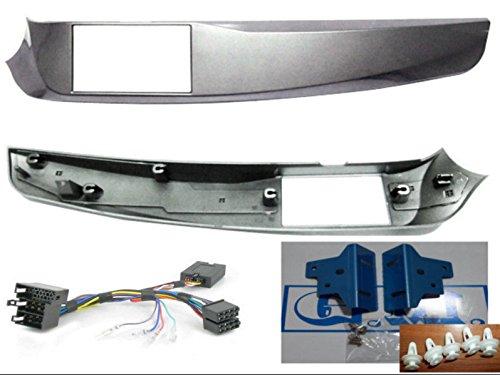 G.M. Production Kit façade et commandes au volant Adaptateur double DIN Alfa Giulietta Silver (intérieur, dimension verticale maximale 101 mm)