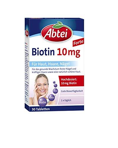 Abtei Biotin10mg - hochdosiertes Arzneimittel für gesunde Haut, schöne Haareund feste Nägel - vegetarisch, glutenfrei, gelatinefrei - 1 x 30 Tabletten