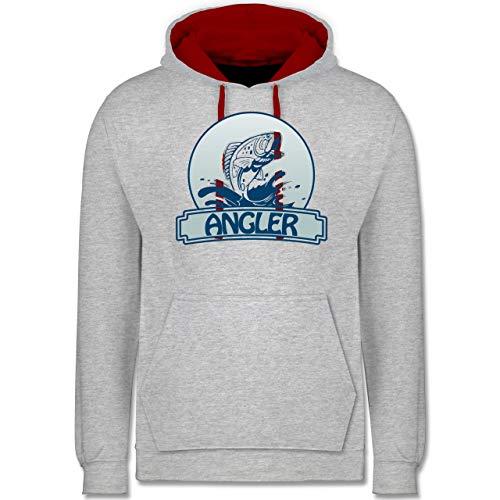 Shirtracer Angeln - Angler Button - XL - Grau meliert/Rot - Angeln Kinder Kleidung Angeln - JH003 - Hoodie zweifarbig und Kapuzenpullover für Herren und Damen