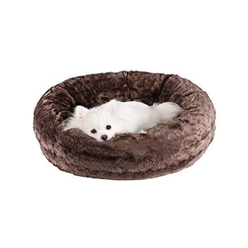 Veehoo Luxuriöses Kunstfell Erwärmen Hundebett, Sanft Tierbett für Klein, Mittelgroße, Grosse Hunde & Katze, Runden Katzenbett Waschbar, S, Braun