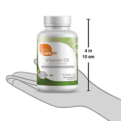 Zahler Vitamin D3, Natural Supplement Supporting Bones Muscle Teeth and Immune System, Certifed Kosher (D3 50,000 120 Count)