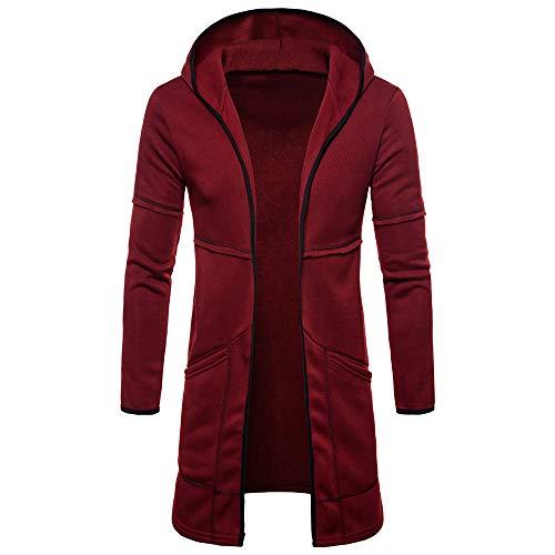 Sudadera con capucha para hombre de manga larga rojo intenso XXL