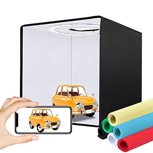 Fotobox, Lichtzelt 40 * 40 * 40 cm Lichtzelt Dimmbare Tragbare Faltbare Fotografie Schießzelt mit Weiße/Sanfte/Warme Licht, Leuchtkasten Fotozelt...
