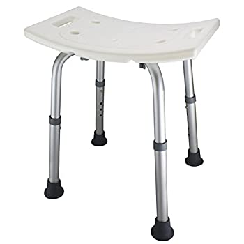 Ez2care Shower Bench Bath Seat Chair Adjustable Height from 12.5 to 18 inch with Durable Aluminum Legs for Elderly Senior Handicap and Disabled Perfect for Small Size Bathtub