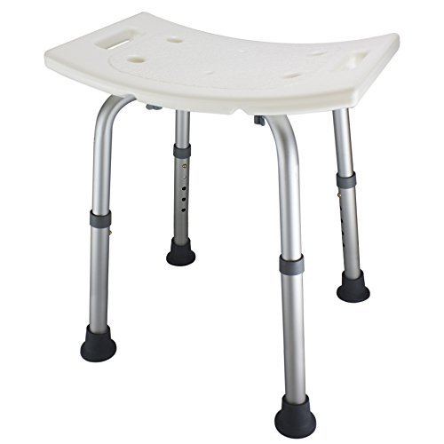 Ez2care Adjustable Lightweight Shower Bench,White, 12.5 to 18 inch