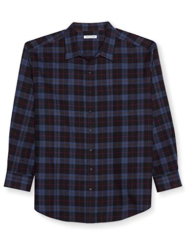 Amazon Essentials Men's Big & Tall Long-Sleeve Plaid Flannel Shirt, Blue/Black, 4X Tall