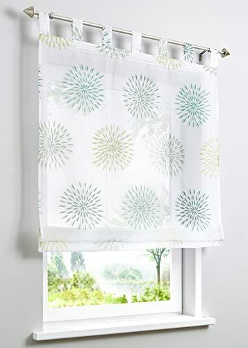 ESLIR Raffrollo mit Schlaufen Gardinen Küche Raffgardinen Transparent Schlaufenrollo Vorhänge Kreis-Motiven Modern Voile Grün BxH 100x140cm 1 Stück