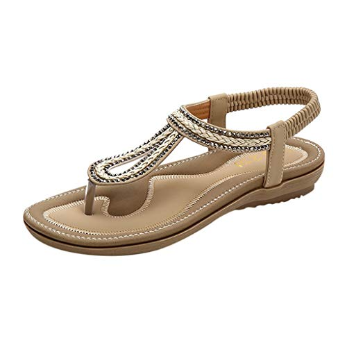 Sandali Bambina/Donna Eleganti Sandali Estivi Scarpe Spiaggia Infradito da Donna- Open Toe Strass Flip Flop Scarpe da Spiaggia Basse Tacco Piatto Bohemia Decorate/Zarupeng