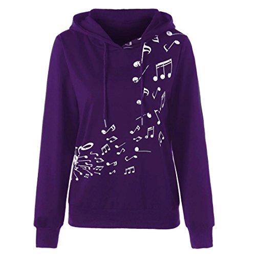 ESAILQ Damen Long Sleeve Hoodie Musikalische Note Print Sweatshirt Jumper Pullover Bluse