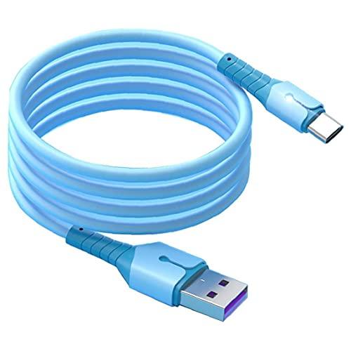 Tuimiyisou Liquid Tipo Silicona USB C Cable de Carga 2m 5A Cable Micro Cargador de Carga rápida Cable de Datos con indicador de luz para los teléfonos móviles Azules