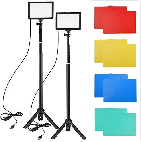 Andoer 2PCS USB LED Kit luce video Illuminazione fotografica 3200K-5600K 120 pezzi Perline 14 livelli dimmerabile con supporto per treppiede regolabile 5 pezzi Filtri per streaming video live