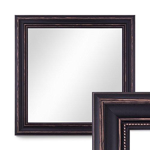 PHOTOLINI Wand-Spiegel 50x50 cm im Massivholz-Rahmen Landhaus-Stil Dunkelbraun...