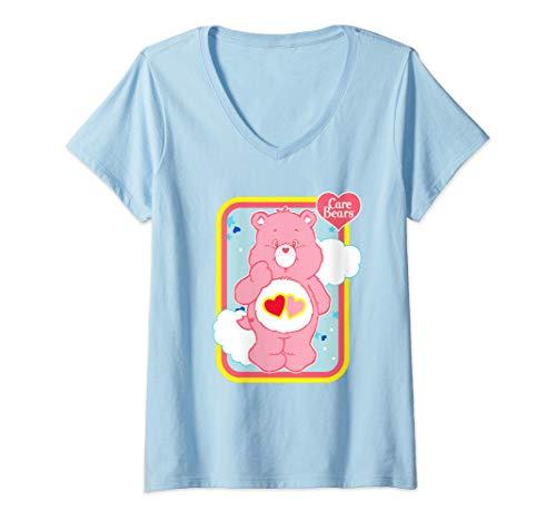 Womens Care Bears Love-a-Lot Bear V-Neck T-Shirt