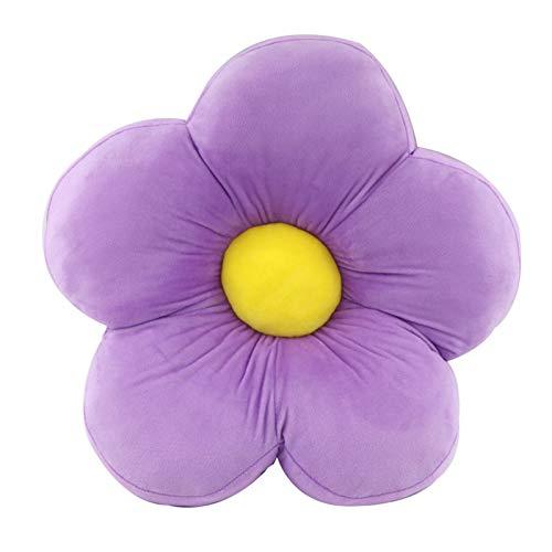 RAILONCH 50cm Blumenförmiges Plüsch Kissen,Blumen Bodenkissen für Kinder,Dickes Plüschkissen Bodenkissen,Spielzeug Dekorativ Pillow für Haus und Garten (Lila)