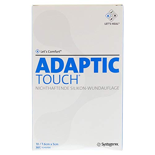 Adaptic Touch 7,6x5 cm Nichthaftende Silikon-Wundauflage, 10