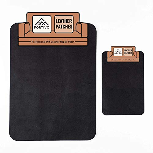 Black Leather Patches for Couch and Vinyl Repair Kit - Furniture, Couch, Car Seats, Sofa, Jacket, Purse, Belt, Shoes| Genuine, Italian, Bonded, Bycast, PU, Pleather |No Heat Required, Repair & Restore